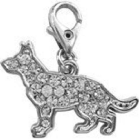 GERMAN SHEPHERD CLEAR CRYSTAL CHARM FOR BAGS PHONES JEWELLERY ETC